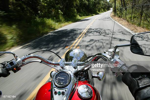 Cruiser motorcycle on a open road