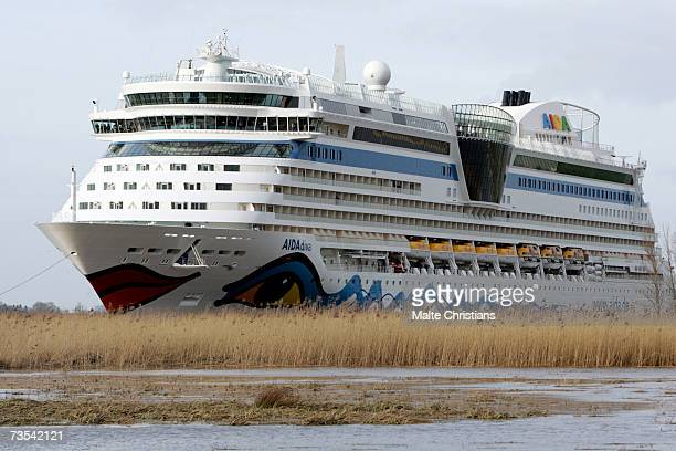 Cruiser ship AIDA Diva leaves the Meyer Papenburg shipyard enroute to Hamburg via Emden for its christening on March 10 2007 in Papenburg Germany The...
