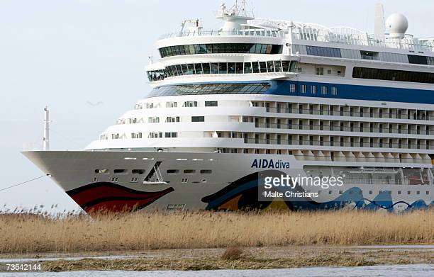 Cruiser ship AIDA Diva leaves the Meyer Papenburg shipyard enroute to Hamburg via Emden for its christening on March 10 2007 in Papenburg Germany The...
