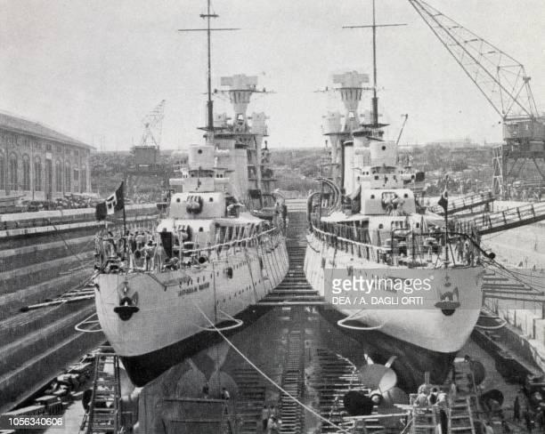 Cruisers Alberico da Barbiano and Alberto da Giussano in dry dock Genoa Italy 20th century