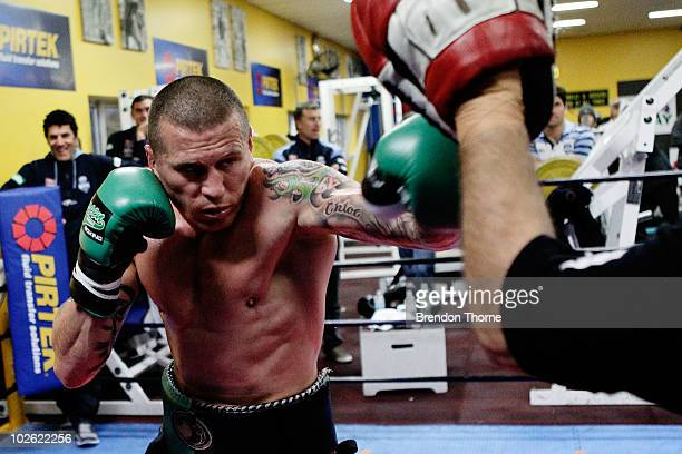 IBO cruiserweight world boxing champion Danny Green takes part in a sparring session ahead of his July 21 bout with Paul Briggs at Parramatta Stadium...