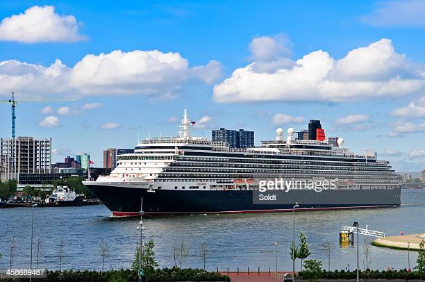 Cruiseship 'MS Queen Victoria' leaving Port of Rotterdam