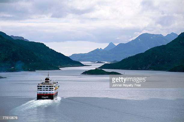 Cruising ship at a fiord in Norway.