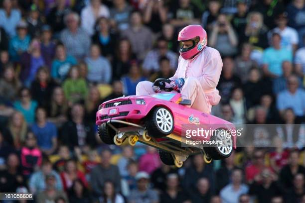 Crum performs a stunt in a toy car during Nitro Circus Live at Westpac Stadium on February 9 2013 in Wellington New Zealand