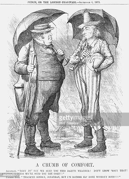 'A Crumb of Comfort' 1879 John Bull the representative of the British people in particular the British farmers accepts a loaf of bread from America...