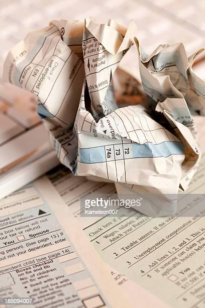 Crumbled tax form