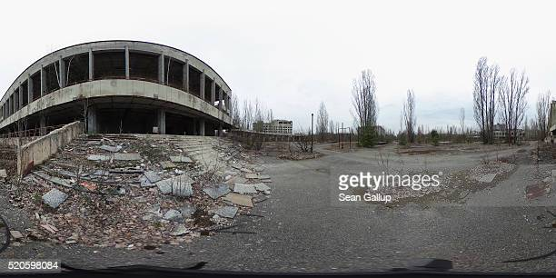 Crumbling steps lead to the former cultural palace on April 9 2016 in Pripyat Ukraine Pripyat built in the 1970s as a model Soviet city to house the...