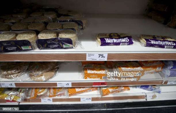 Crumpets on sale in a branch of Sainsburys supermarket in London as they become the latest casualty of the carbon dioxide shortage which is hitting...