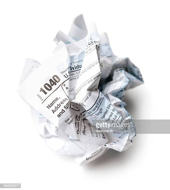Crumpled 1040 U.S. Tax Return Form