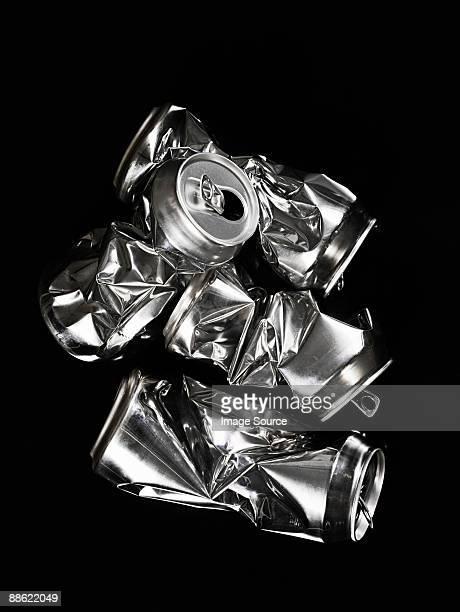 Crumpled aluminium cans