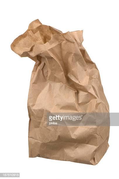 Faltig Packpapier Mittagessen Tasche auf weißem Hintergrund