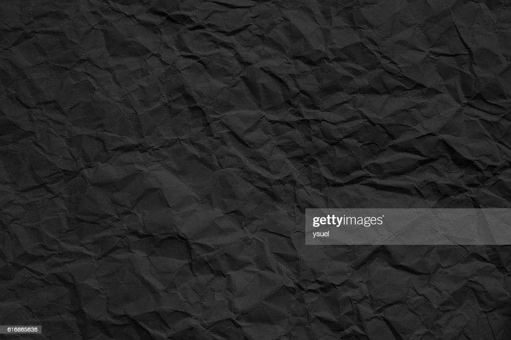 crumpled dark paper texture : Stock Photo