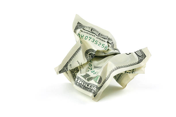 Crumpled Money With Clipping Path Wall Art