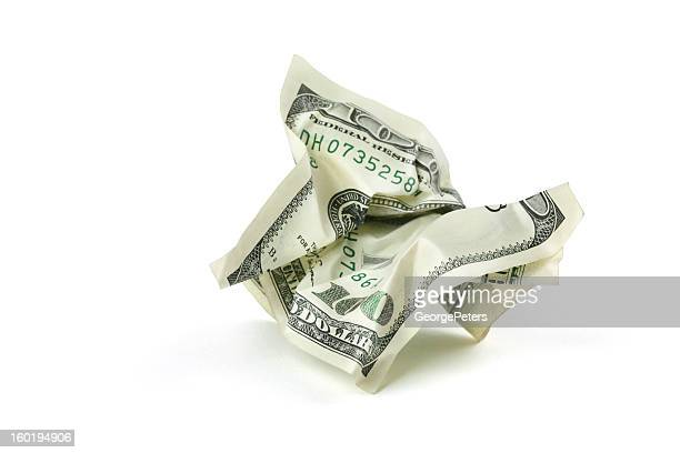 Crumpled Money with Clipping Path