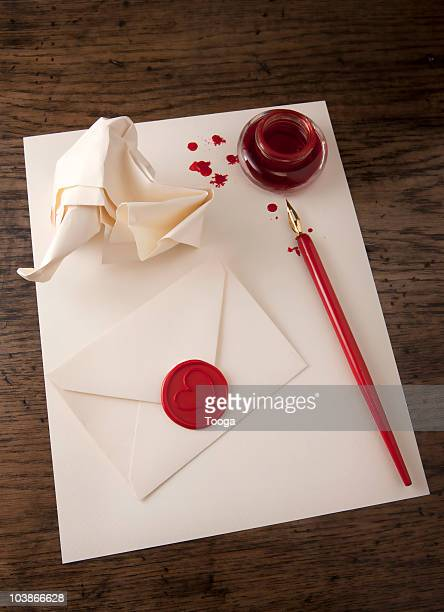crumpled paper and seal envelope with heart