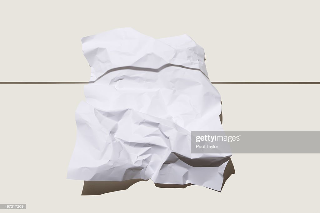Crumpled Paper and Shadow : Stock Photo