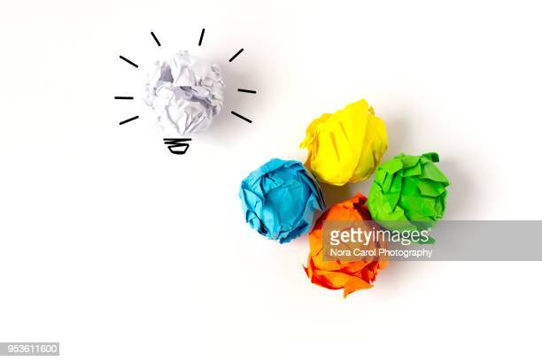 crumpled paper ball - inspiration stock pictures, royalty-free photos & images