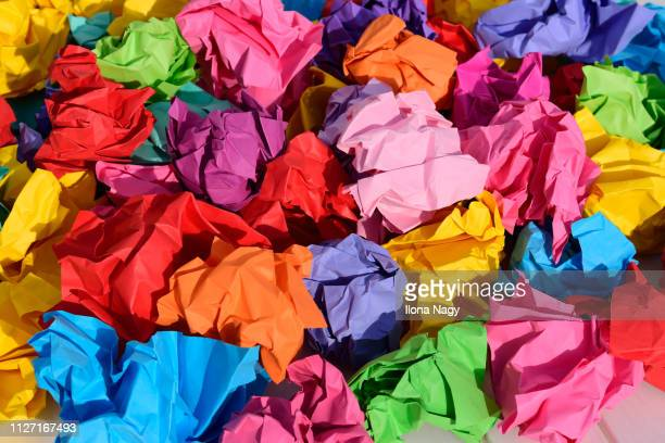crumpled paper balls - dismissal stock photos and pictures