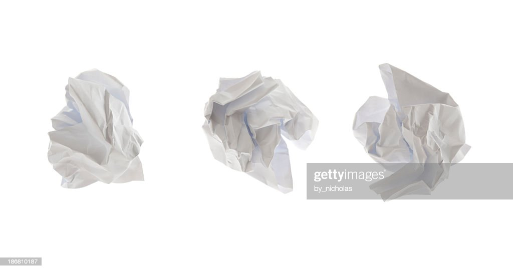 Crumpled paper, isolated on white : Stock Photo