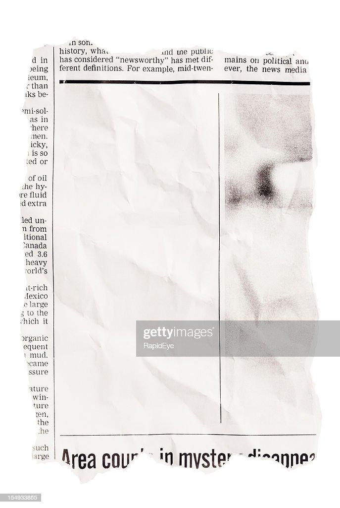 Amarrotado rasgado, clipping de jornais, com espaço em branco : Foto de stock