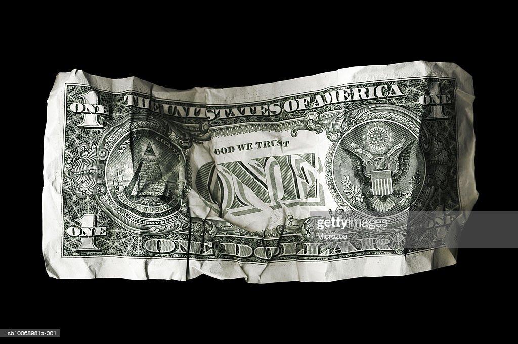 Crumpled US dollar bill : Stock Photo