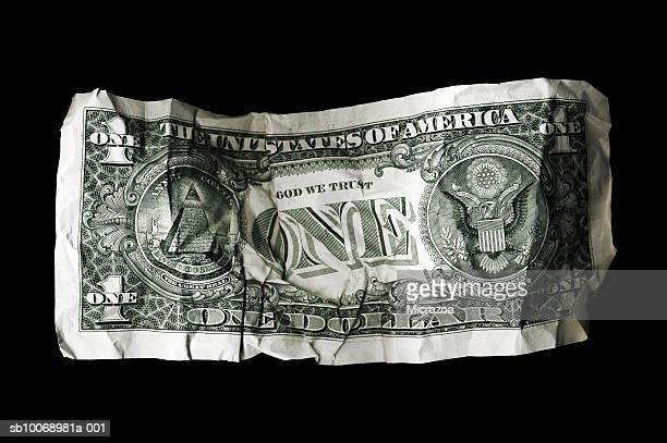 crumpled us dollar bill - microzoa stock pictures, royalty-free photos & images