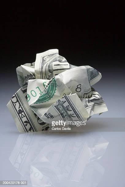 Crumpled US$100 bill, close-up