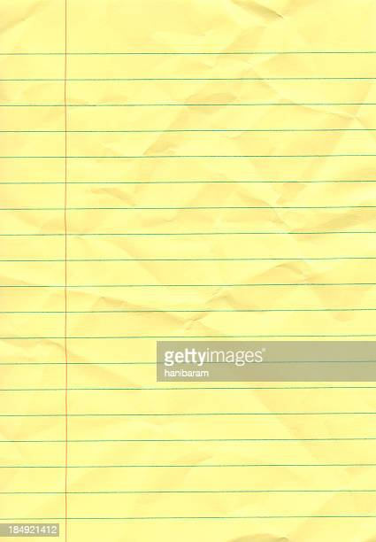 crumpled yellow notepad - lined paper stock pictures, royalty-free photos & images