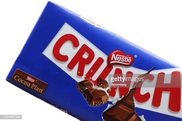 Crunch chocolate bar, manufactured by Nestle SA, arranged in London, U.K., on Monday, July 26, 2021. Nestle report their half-year results on July...