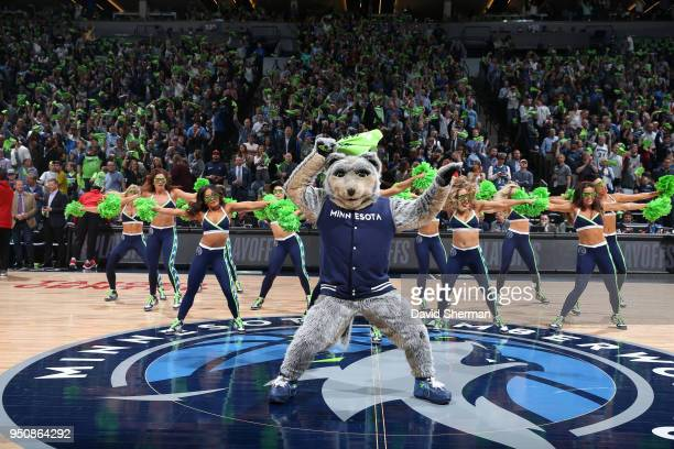 Crunch the Wolf of the Minnesota Timberwolves performs during Game Four of Round One of the 2018 NBA Playoffs against the Houston Rockets on April 23...