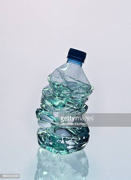 A crunched water bottle