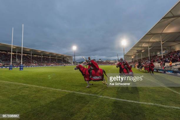 Crusader horsemen perform prior to the round 12 Super Rugby match between the Crusaders and the Waratahs at AMI Stadium on May 12 2018 in...