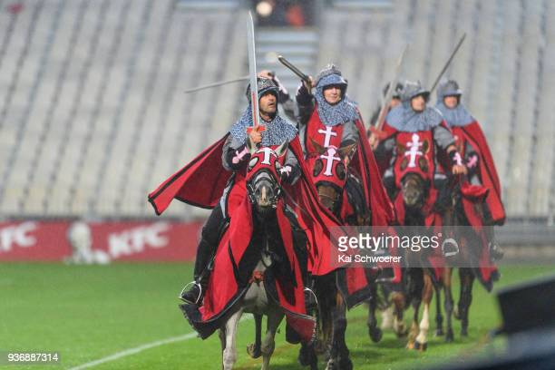 Crusader horsemen perform prior to the round six Super Rugby match between the Crusaders and the Bulls on March 23 2018 in Christchurch New Zealand