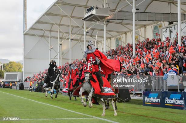 Crusader horsemen perform prior to the round two Super Rugby match between the Crusaders and the Chiefs at AMI Stadium on February 24 2018 in...