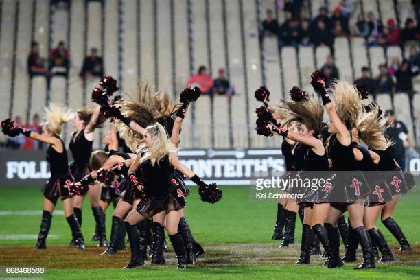 Crusader maidens perform prior to the round eight Super Rugby match between the Crusaders and the Sunwolves at AMI Stadium on April 14 2017 in...