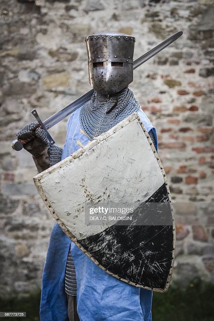 Crusader with great helm and shield, 13th-14th century