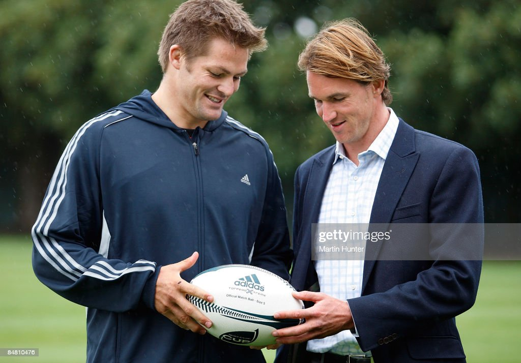 Crusaders and New Zealand All Blacks captain Richie McCaw poses with adidas Global Head of Rugby and Cricket Nick Drake Nick Drake after a Crusaders training session at Rugby Park on February 16, 2009 in Christchurch, New Zealand. McCaw and team-mate Daniel Carter have had their individual contracts with adidas extended through 2012.