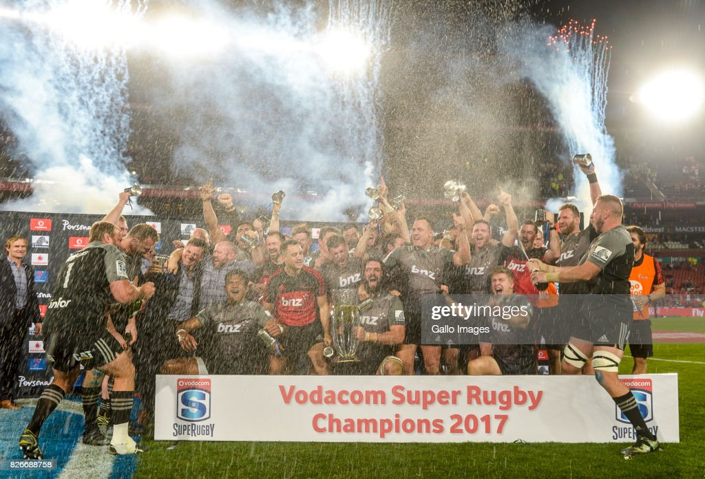Crusaders are crowned the 2017 Super Rugby champions during the Super Rugby Final match between Emirates Lions and Crusaders at Emirates Airline Park on August 05, 2017 in Johannesburg, South Africa.