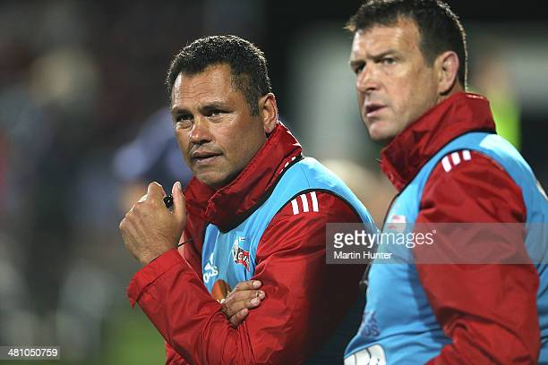 Crusaders assistant coaches Tabai Matson and Dave Hewett during the round seven Super Rugby match between the Crusaders and the Hurricanes at AMI...