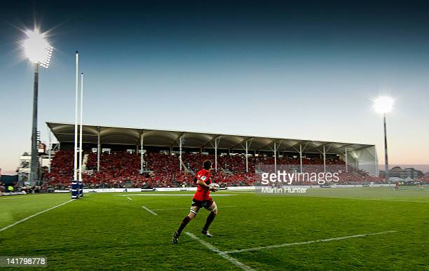 Crusaders captain Kieran Read runs out on to the field at the start of round five Super Rugby match between the Crusaders and the Cheetahs at the new...