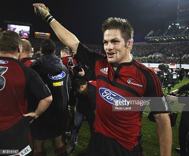 Crusaders captain Richie McCaw celebrates following the his teams win over the Waratahs in the Super 14 final at AMI Stadium on May 31 2008 in...