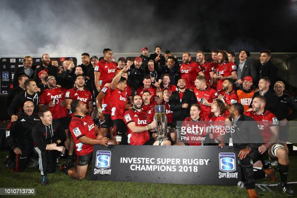 Crusaders captain Sam Whitelock celebrates with the trophy following the Super Rugby Final match between the Crusaders and the Lions at AMI Stadium...