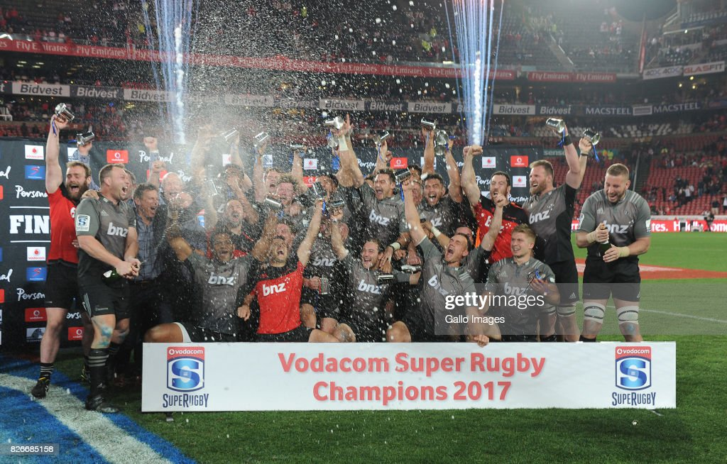 Crusaders celebrate their victory during the Super Rugby Final match between Emirates Lions and Crusaders at Emirates Airline Park on August 05, 2017 in Johannesburg, South Africa.