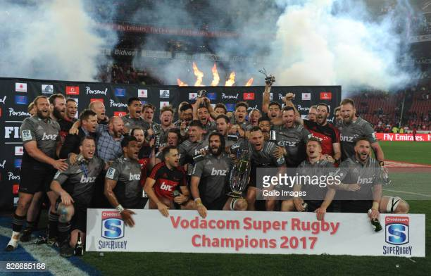Crusaders celebrate their victory during the Super Rugby Final match between Emirates Lions and Crusaders at Emirates Airline Park on August 05, 2017...