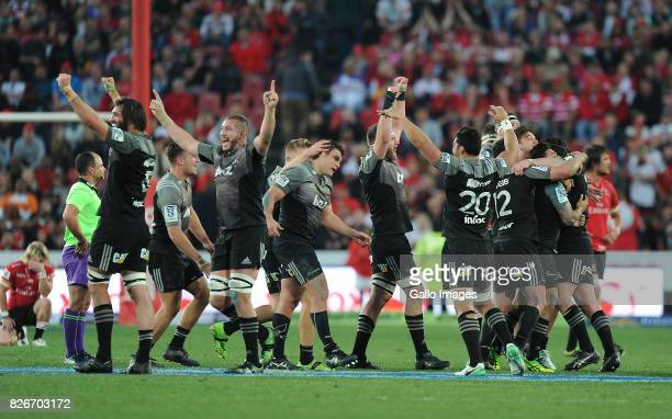 Crusaders celebrating their victory during the Super Rugby Final match between Emirates Lions and Crusaders at Emirates Airline Park on August 05,...
