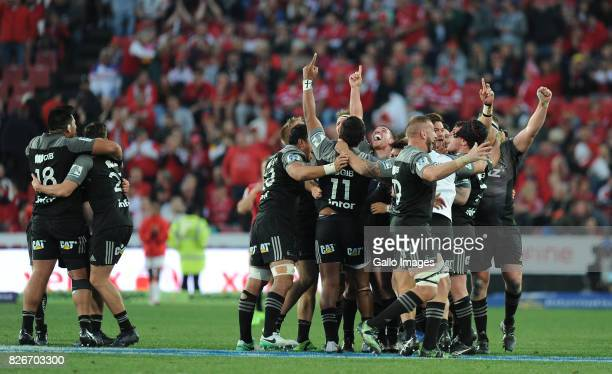 Crusaders celebrating their victory during the Super Rugby Final match between Emirates Lions and Crusaders at Emirates Airline Park on August 05...