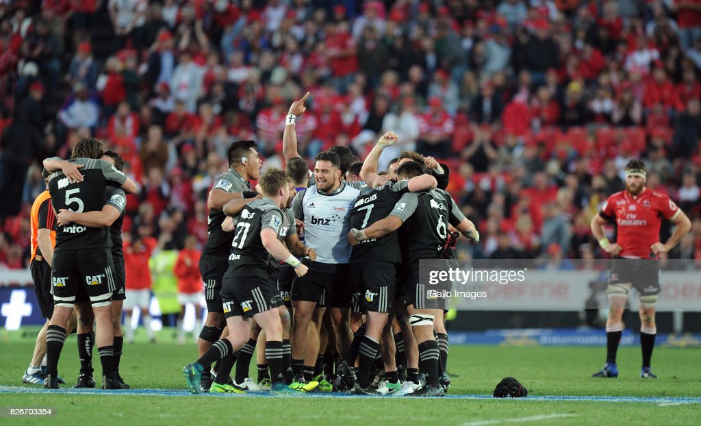 Crusaders celebrating their victory during the Super Rugby Final match between Emirates Lions and Crusaders at Emirates Airline Park on August 05, 2017 in Johannesburg, South Africa.