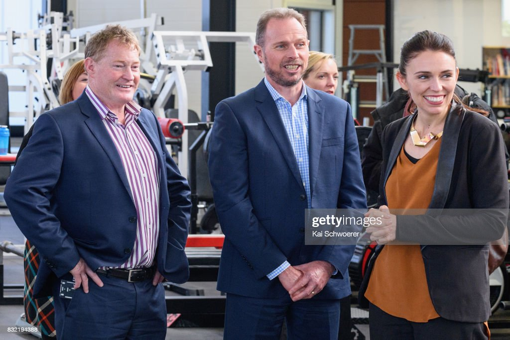 Crusaders Chairman Grant Jarrold, Chief Executive Officer Hamish Riach of the Crusaders and Labour Leader Jacinda Ardern (L-R) look on during a visit at Canterbury Rugby on August 16, 2017 in Christchurch, New Zealand. The Labour party has pledged $10 million towards mental health support for children in Canterbury and Kaikoura to help overcome the trauma of earthquakes, with plans to fund an extra 80 mental health professionals over the next three years who will work in all public primary and intermediate schools.