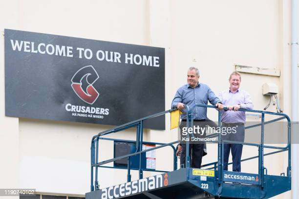 Crusaders Chief Executive Officer Colin Mansbridge and Crusaders Chairman Grant Jarrold pose in front of the new Crusaders logo following a Crusaders...