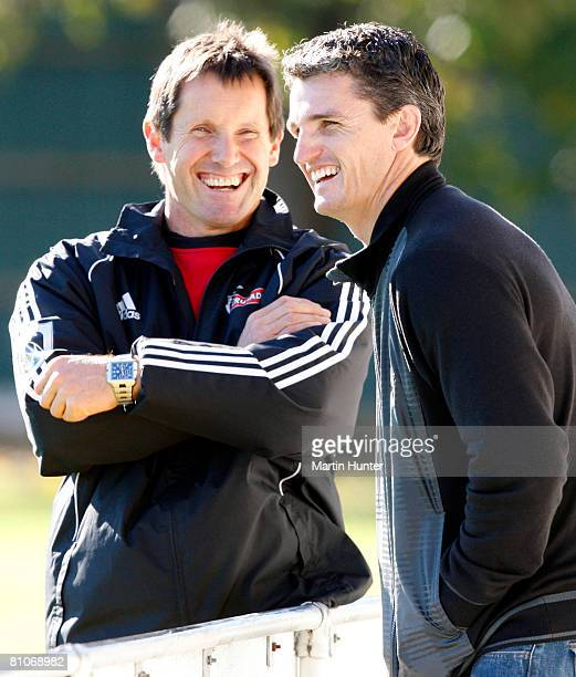 Crusaders coach Robbie Deans chats with Warriors NRL coach Ivan Cleary during a Crusaders training session at Rugby Park on May 13 2008 in...